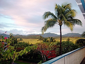 View from the Bird ofParadise's lanai during the sunset.  We Love this view so much that is why we cut part of the picture to make the Bird of Paradise Poipu Kauai Vacation Rental Home's logo
