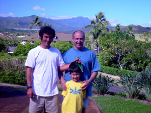 Erdogan, Deniz and Bora in front of the Bird of Paradise Poipu Kauai Vacation Rental home in Poipu Kai Resort, Poipu Beach, Kauai, Hawaii