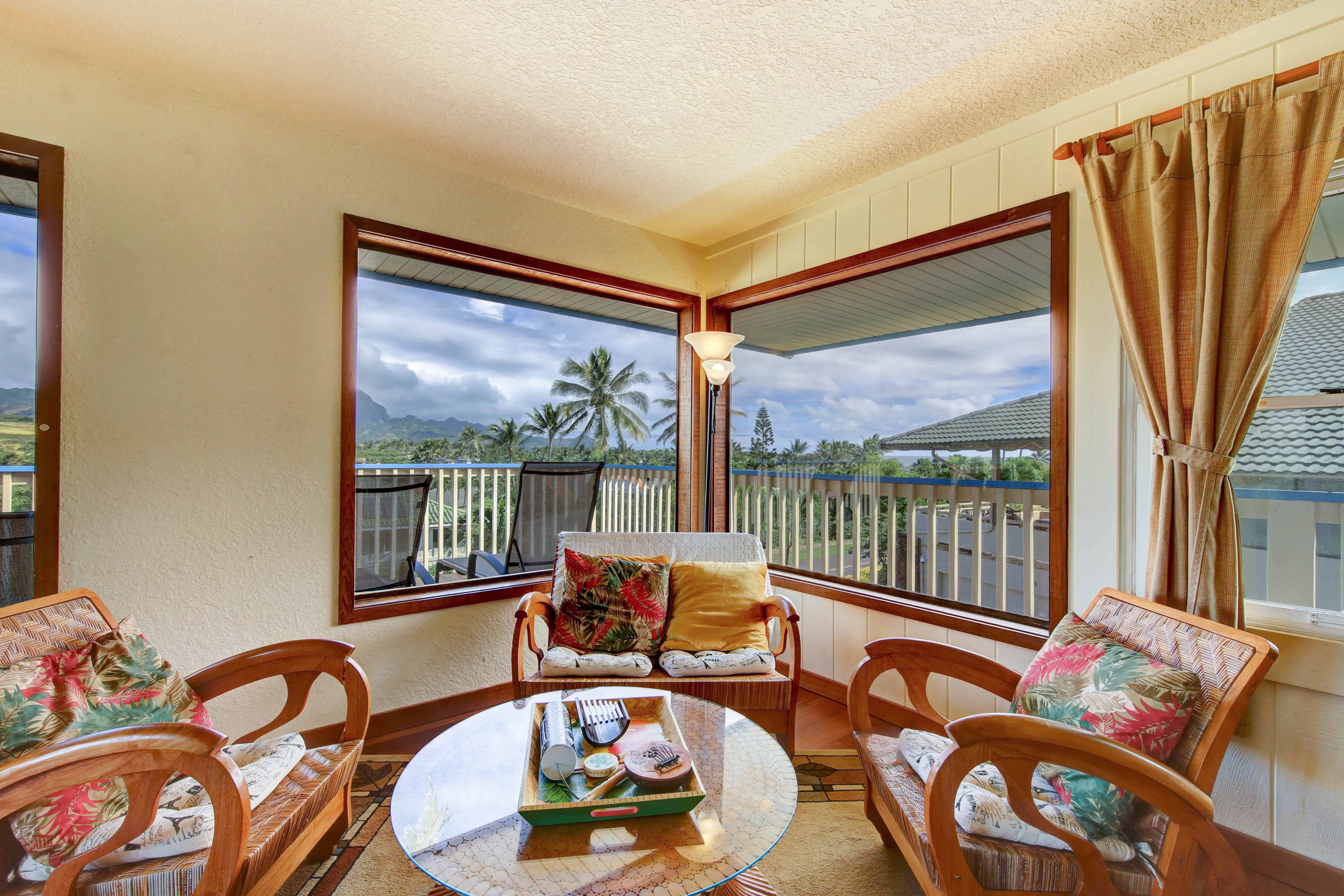 See Haupu mountain, partial golf course, Ocean views from living room of our kauai vacation rental