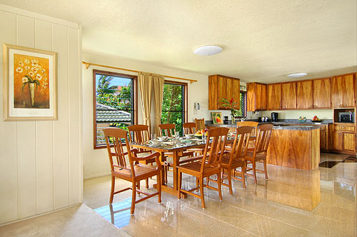 dinning at our Kauai rental home in Poipu