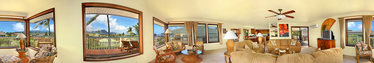 panoramic of living area in Poipu vacation rental home
